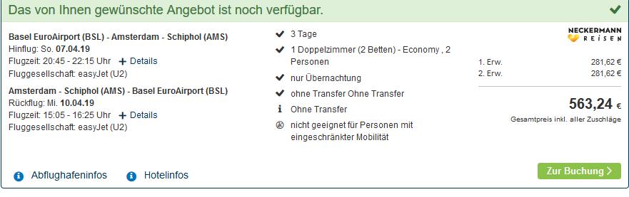 Screenshot Deal Zum Spring Break in Amsterdam Hotel ab 281,00€ Flüge