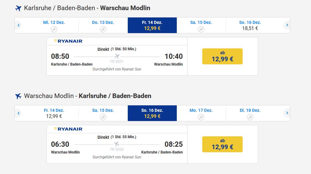 Screenshot Flug Städtereise Warschau günstigen Flug + Hotel ab 59,98€ 2 Nächte