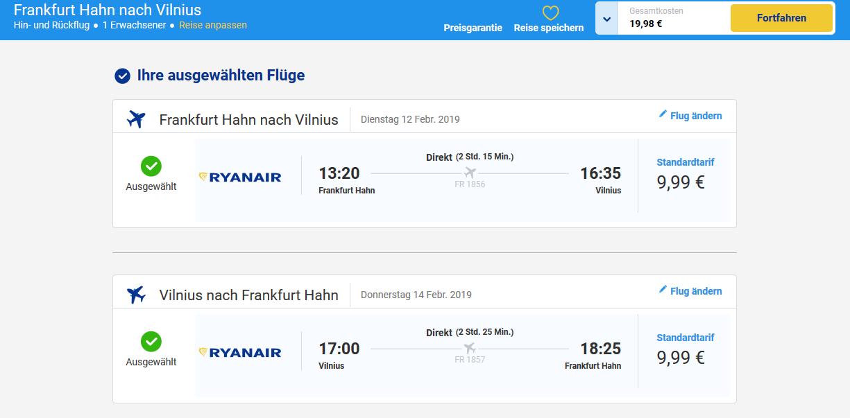 Screenshot Flugdeal Städtereise nach Vilnius