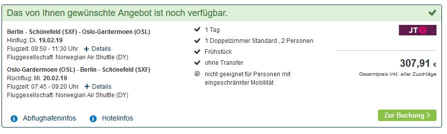 Screenshot Hotel Deal Städt Trip nach Oslo günstig im 4 Sterne Hotel ab 139,00€ Flug & Hotel - Woche Oslo ab 325,00€