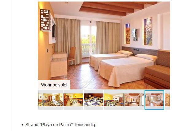 Screenshot Hotelzimmer Bsp. Mallorca Urlaub 3 Wochen All Inclusive ab 317,00€ - S'Arenal - Bestpreisgarantie