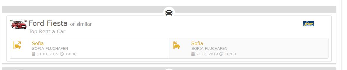 Screenshot Mietwagen Deal in Sofia während Skiurlaub in Sofia 10 Nächte