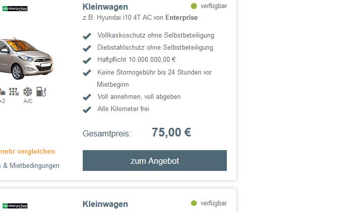 Screenshot Mietwagen Deal während der Städtereise nach Tirana - Albanien