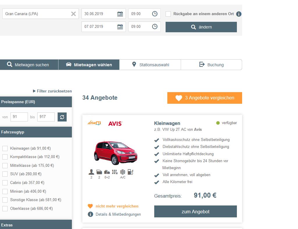 Screenshot Suchen & Buchen - Mietwagen Buchen für den Urlaub über wow-reisen.de - günstigere Buchungen