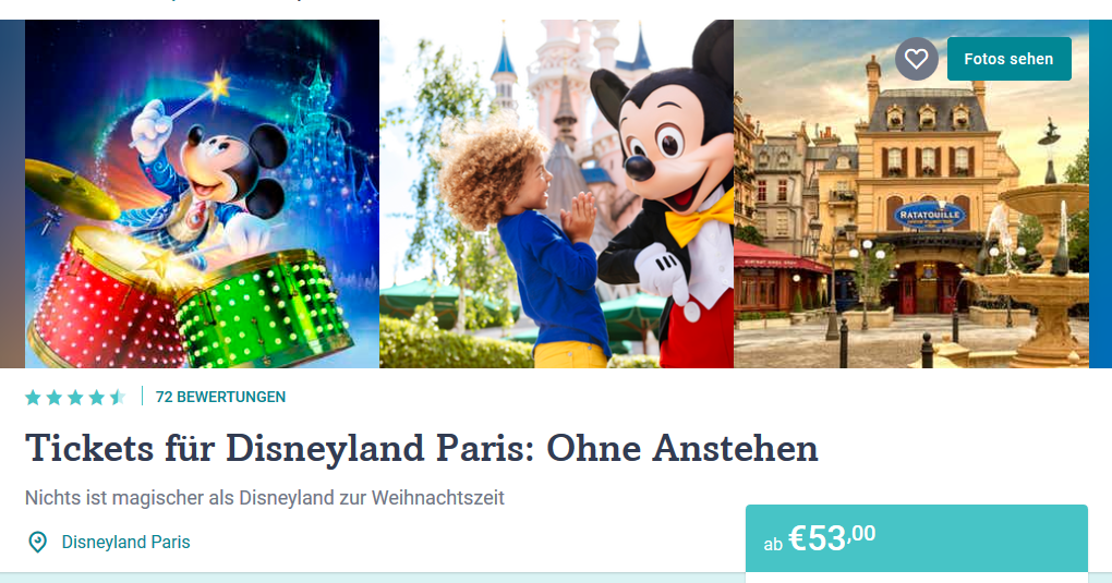 Screenshot Ticket für Disenyland Paris