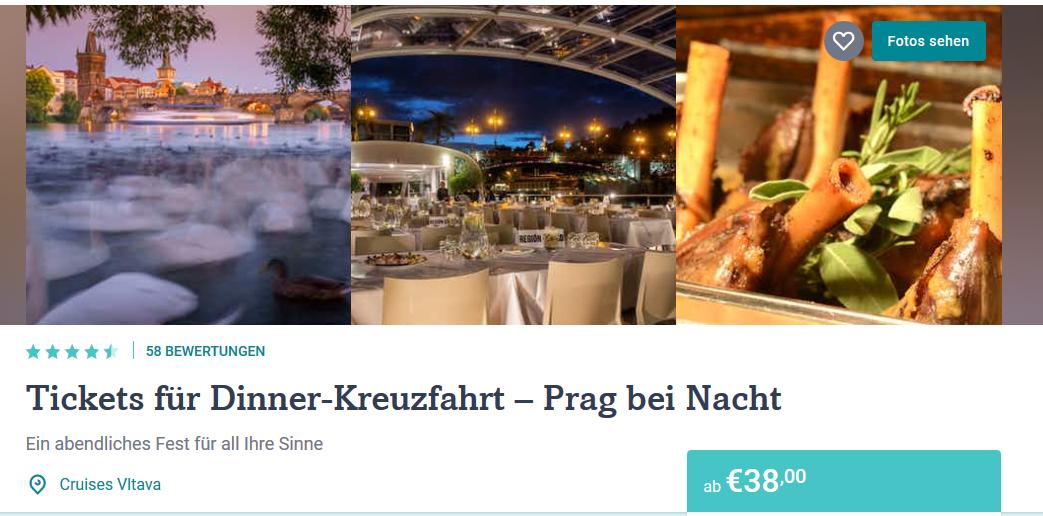 Screenshot Tickets für Dinner Kreuzfahrt auf der Moldau