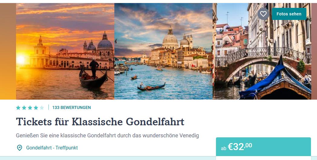 Screenshot Deal Romantische Gondelfahrt in Venedig buchen