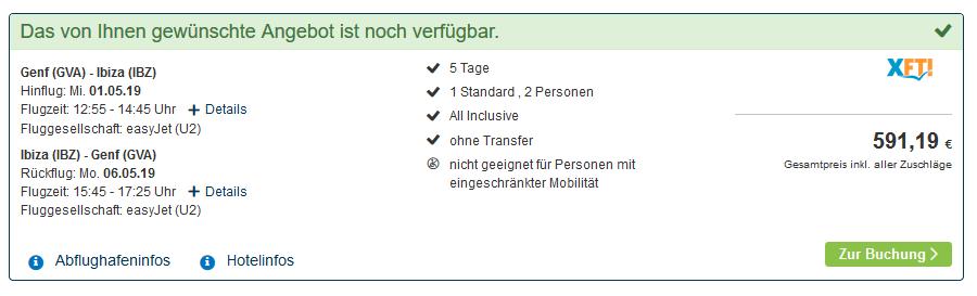Screenshot vom Deal Kurz Urlaub auf Ibiza All Inclusive - günstig Urlaub buchen über WoW ab 295,60€