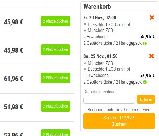 Screenshot von Düsseldorf bis München mit dem Bus