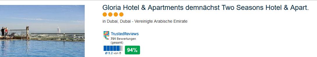 Ab jetzt Two Seasons Hotel Dubai - Gloria Hotel verabschiedet sich