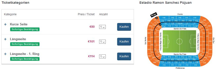 Beispiel Deal La Liga Tickets günstig kaufen Topsiele ab 80,00€ - Flug & Hotel Seperat - Screenshot