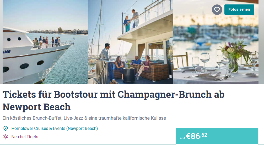 Bootstour mit Champagner Brunch Newport Beach Tiqets