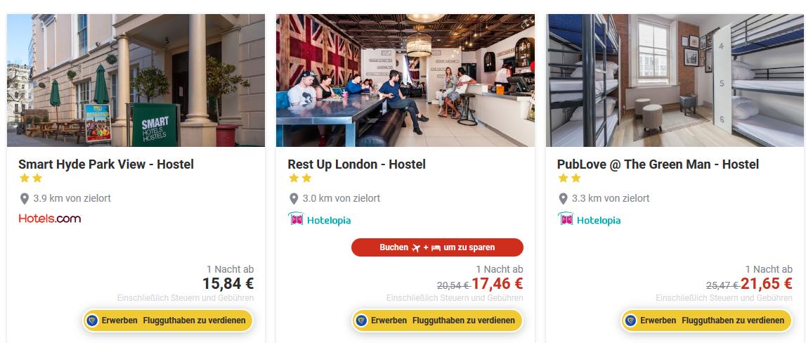 HostelDeals bei Ryanair Screenshot -Tagestrip London - Übernacht oder Daytrip ab 15,98€ Hin und Rückflug