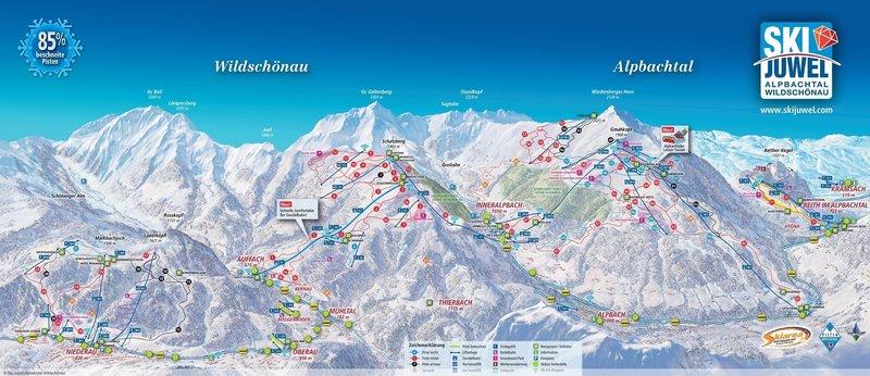 Karte Pistenübersicht Niederrau Wildschönau