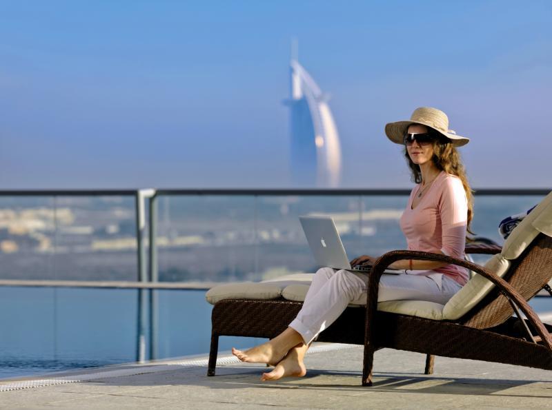 Perfekte aussicht auf The Jumeirah Palm vom Pool aus