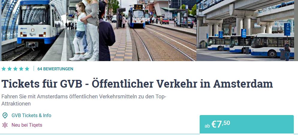 Screenshot Deal öffentliche Verkehrsmittel in Amsterdam nutzen ab 7,50€
