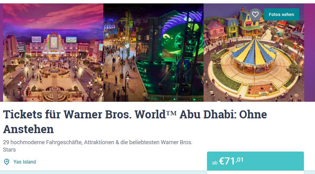 Screenshot Deal Abu Dhabi Warner Bros World Karten in den Emiraten ab 71,01€
