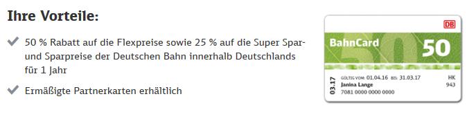 Screenshot Deal Bahncard kombi mit den Super Sparpreis Finder DB