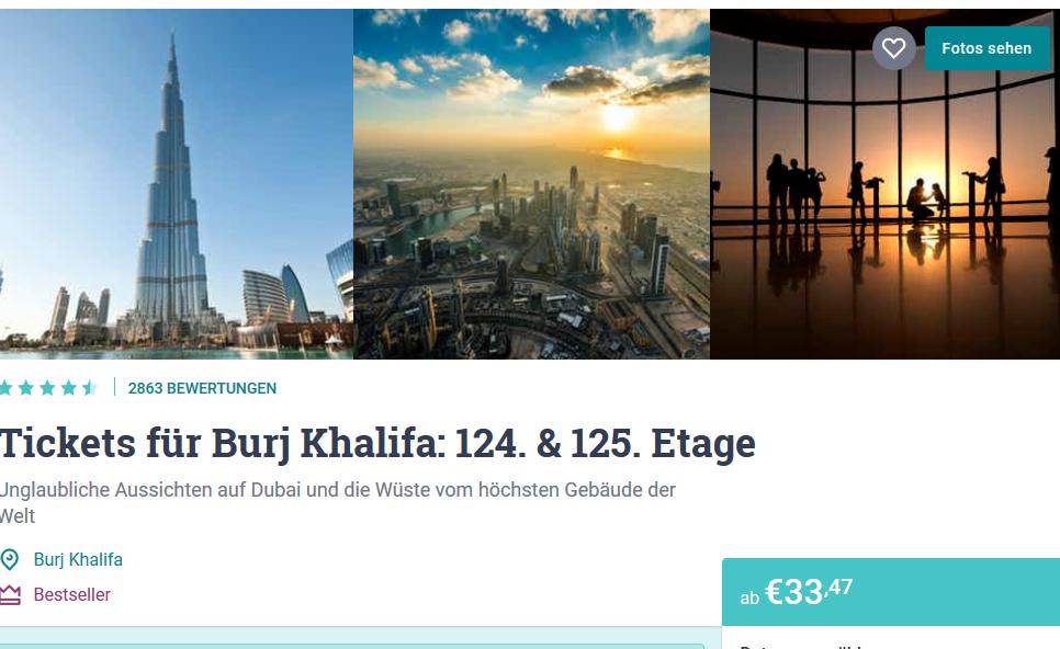Screenshot Deal Burj Khalifa das höchste Gebäude der Welt ab 33,47€
