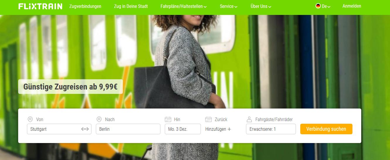 Screenshot Deal Flixtrain buchen & Streckennetz - Städtereisen günstig Berlin - Frankfurt ab 29,00€