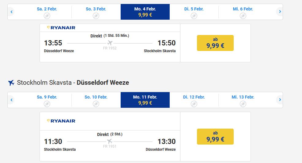 Screenshot Deal Günstig nach Stockholm Flug günstig ab 9,99€ - Städtetrip billig