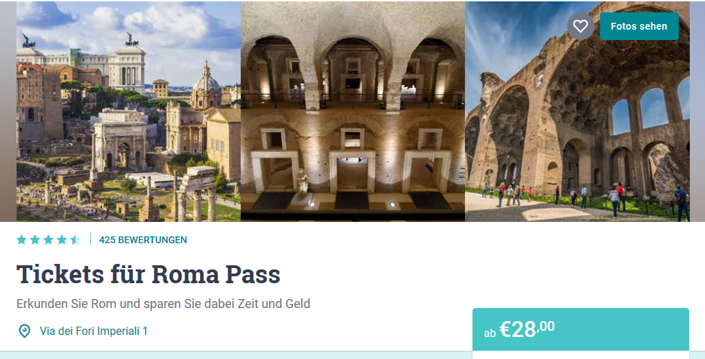 Screenshot Deal Italien City Pass in Rom ab 28,00€