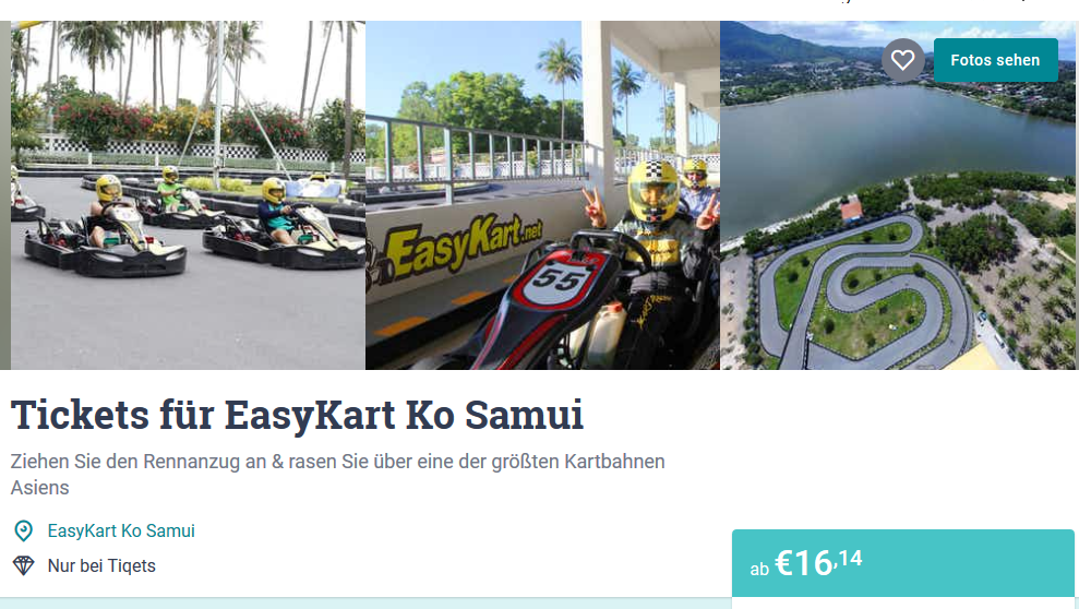 Screenshot Deal Koh Samui Kartbahn Tagesticket ab 16,14€ - Kartfahren in Thailand