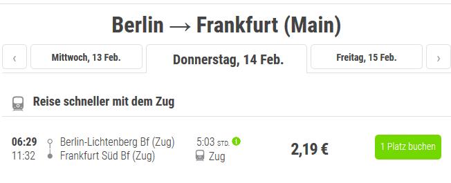 Screenshot Deal Mit dem Flixtrain Aktionsticket ab 2,19€ von Berlin nach Frankfurt
