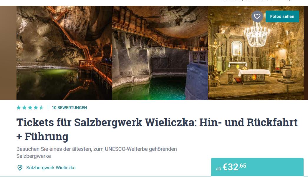 Screenshot Deal Salzbergwerk Krakau Hotel ab 14,00€ die Nacht - Städtereise Krakau Polen