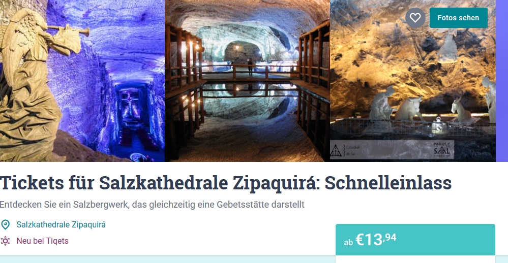 Screenshot Deal Salzkathedrale Bogota Tickets ab 13,94€- Salzbergwerk Zipaquira ab 13,94€