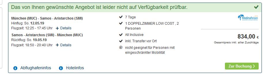 Screenshot Deal Samos All Inclusive Urlaub eine Woche günstig ab 417,00€