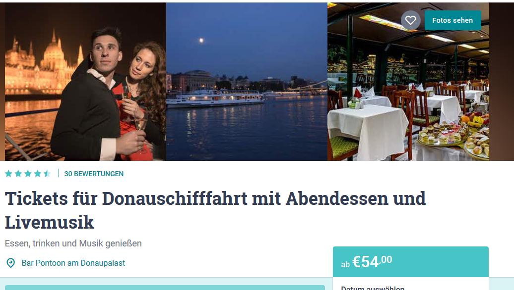 Screenshot Deal Schiffsfahrt in Budapest inklusive Abendessen & Live Musik