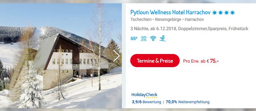 Screenshot Deal Skiurlaub Harrachov in Tschechien günstig buchen ab 75,00€ - 3 Nächte