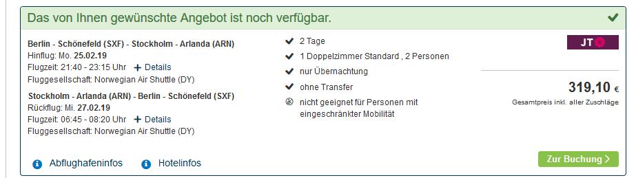 Screenshot Deal Stockholm Boot Hotel Pauschalreise ab 159,55€