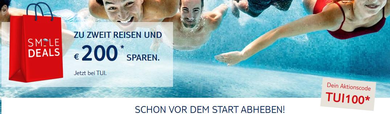 Screenshot Deal TUI Gutschein 2019 - 2 Personen bis zu 200,00€ Rabatt