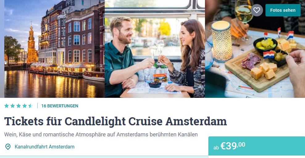 Screenshot Deal Tipp für Päärchen in Amsterdam - Grachtenfahrt ab 39,00€