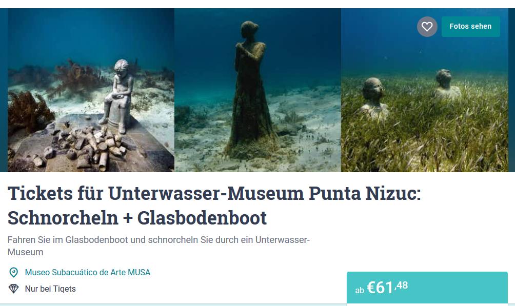 Screenshot Deal Unterwassermuseum Cancun Karte ab 61,48€ -Das Museuem Punta Nizcu unterwasser