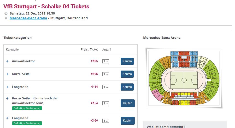 Screenshot Deal VFB Stuttgart - Schalke 04 Tickets ab 105,00€ Mercedes Benz Arena