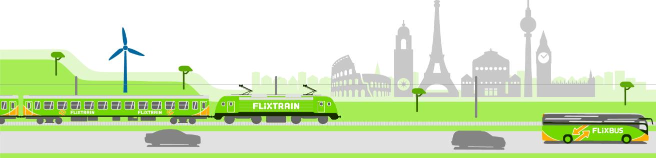 Screenshot Der Flixtrain auf überhol Spur günstig ab 2,19 mit dem Flix Train durch Deutschland reisen