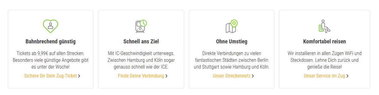 Screenshot Die vorteile vom Flixtrain im Überblick - günstiger, Schnell ans Ziel, Ohne Umstieg, Konfortables Reisen
