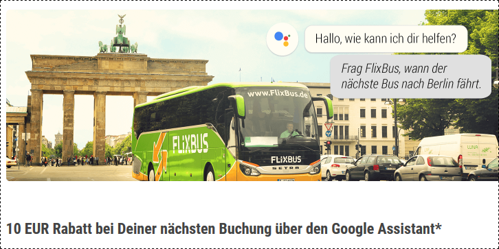 Screenshot Flixbus Rabatt 10,00€ bei Buchung über Google Assistant
