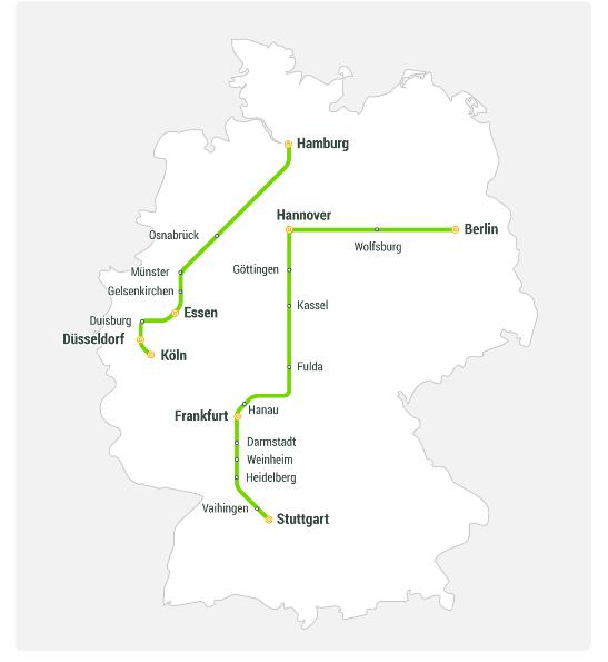 Screenshot Flixtrain Streckennetz erfahrungen sammeln mit dem neuen grünen Dampfer