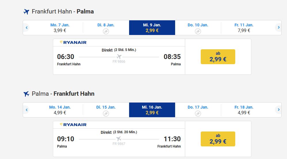 Screenshot Flugdeal Flughafen Palma ab 2,92€ erreichen - Malle Hotel ab 12,98€ die Nacht