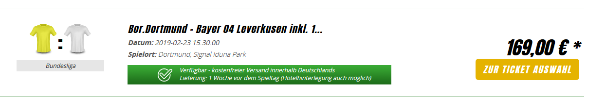 Screenshot Leverkusen Dortmund Derby Karten im Ruhrgebiet - ab 169,00€ Signal Iduna Park BVB Ticket