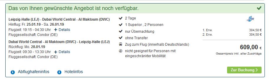 Screenshot Pauschalreise günstig nach Dubai Pauschalreise ab 304,00€