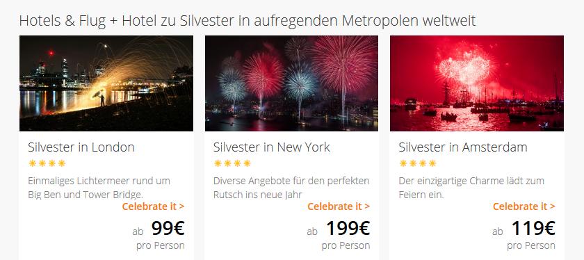 Screenshot Silvester 2018 Deals bei Lastminute Silvester 2018 feiern woanders günstig ab 99,00€ - Städtetrip Silvester