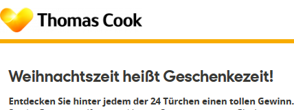 Screenshot Thomas Cook Adventskalender
