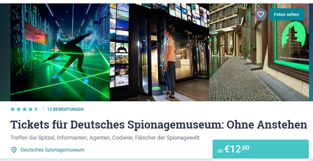 Screenshot Ticket für Spionagemuseum Berlin