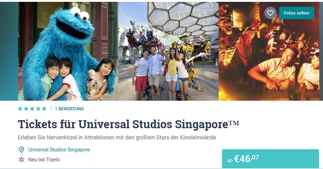 Screenshot Universal Studios Singapur Tickets