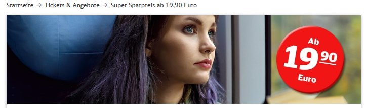 Screenshot Bahn Konkurrenz belebt DB - Super Sparpreis ab 19,90€